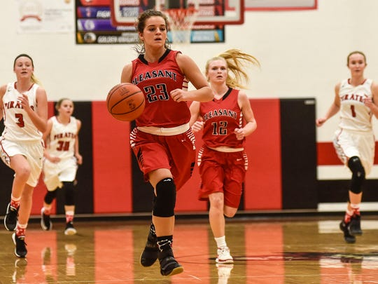 Pleasant's Leah Maniaci brings the ball up the court during a fastbreak at Cardington last season.