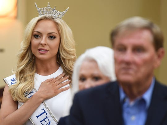 Miss Tennessee 2017 Caty Davis says the pledge of allegiance during a luncheon hosted by the Old Hickory Rotary Club and Downtown Jackson Lions Club, Monday, June 18.