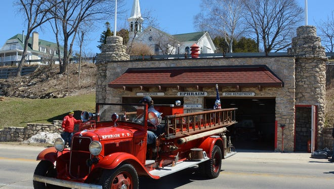 One of the antique fire vehicles at the Ephraim Fire Museum.