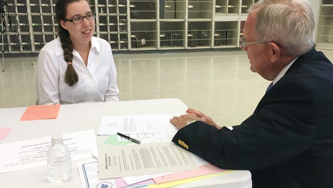 "Dallastown sophomore Dixie Robertson sits in her mock interview with former high school principal George W.W. Jones Jr. during Interview Day at the school Monday, June 6, 2016. Area professionals conducted the interviews to help students hone their job-seeking skills. ""I wasn''t as nervous as I thought I would be,"""" Robertson told Jones Jr. Alyssa Jackson photo"