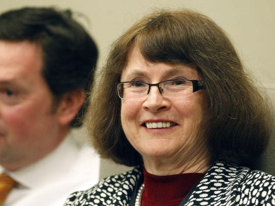 Sen. Ginny Burdick, D-Portland, smiles during the Senate Rules Committee hearing in February 2012.