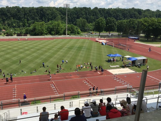 The view of the track and infield area at Radford University's Cupp Stadium prior to the state of the VHSL Group 1A/2A meet last June. University Boulevard is at th top of the photo.