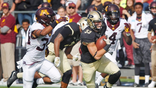 Danny Anthrop with a 41 yard pass reception against Minnesota Saturday, October 10, 2015, at Ross-Ade Stadium. Minnesota beat Purdue 41-13.