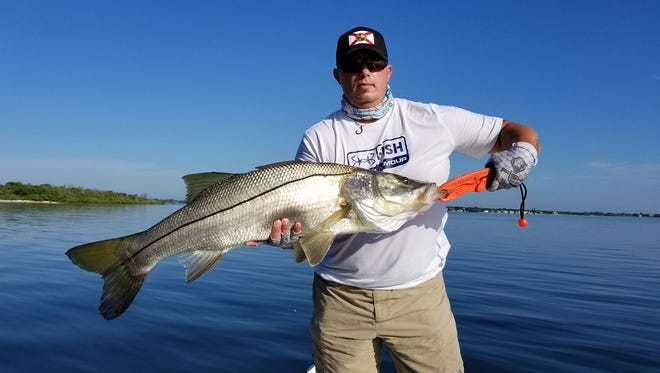 Larry Jones of Jensen Beach fished with Capt. Ken Hudson of Snook City charters of Jupiter Tuesday and Wednesday on spots in and around St. Lucie Inlet to catch and release a good number of good size snook. Live bait is the key, but handle with care.