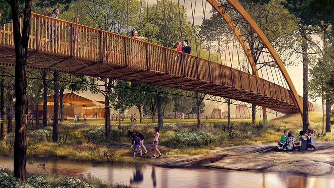 A pedestrian bridge that will span across the Reedy River in Unity Park.
