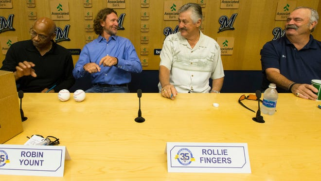 Cecil Cooper (from left), Robin Yount, Rollie Fingers and Gorman Thomas take part in a news conference Friday morning ahead of a weekend celebration commemorating the 35th anniversary of the Brewers squad that lost to the St. Louis Cardinals in the 1982 World Series.