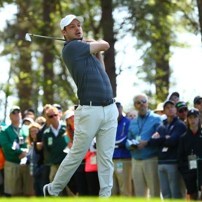 Clemson golfer Doc Redman hits his tee shot on the