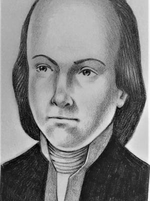 A drawing of Lyman Hall, signer of the Declaration of Independence.
