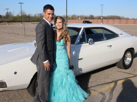 Austin Slomba and Shelby Kirn arrived to prom in style.