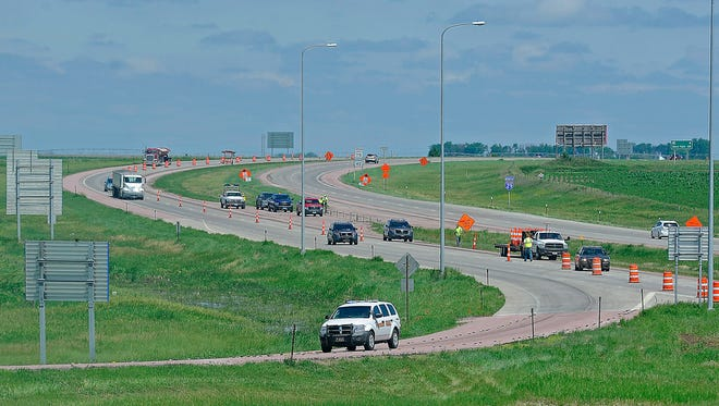 Traffic is directed off Interstate 29 south to the Vermillion exit Thursday.