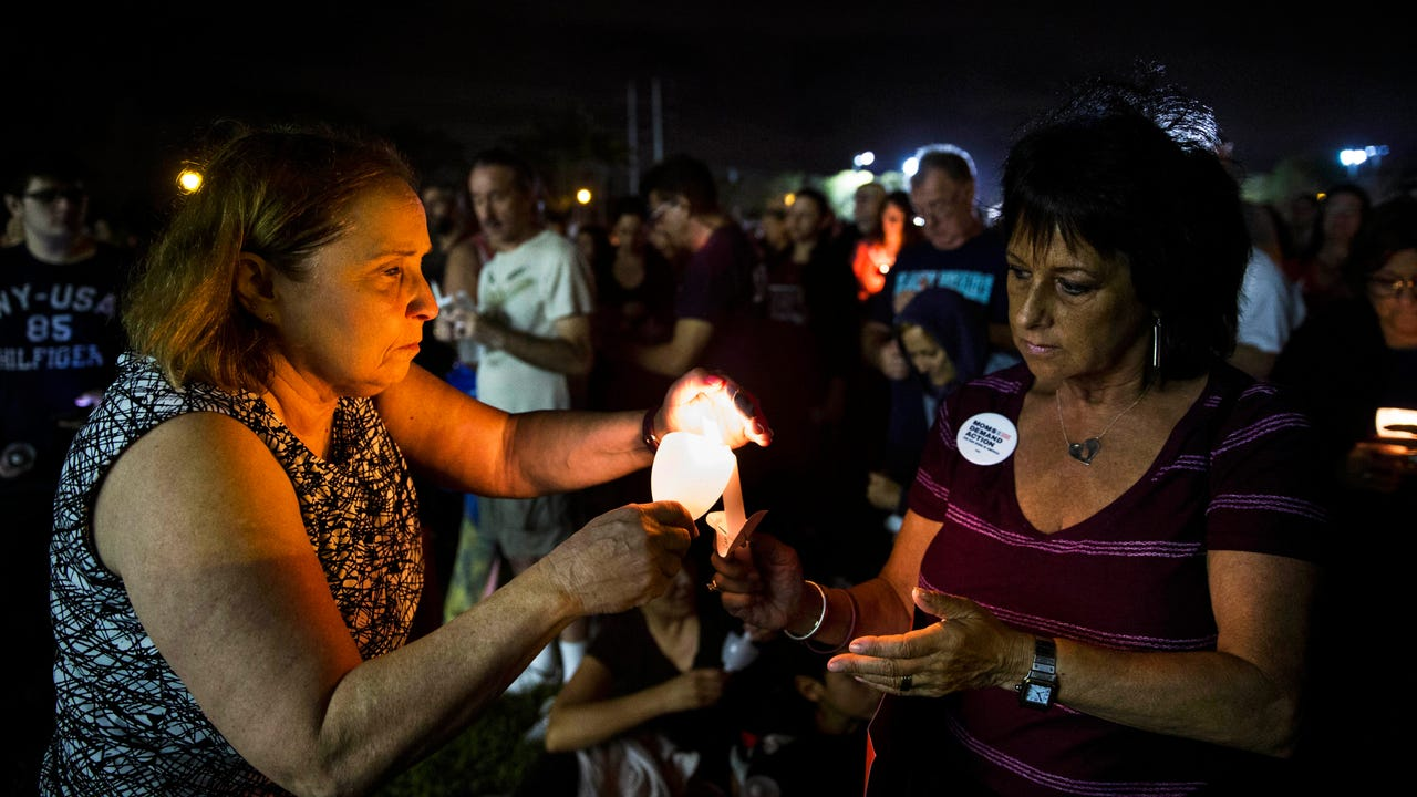 Candlelight vigils were held in a number of Florida locations on Monday night, to honor the victims of last week's deadly shooting at Marjory Stoneman Douglas High School in Parkland, Florida. (Feb. 20)