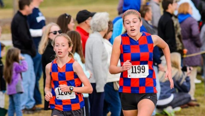 Jessie Crowley, left, Cate Ambrose and the Riverside girls will be after their second straight first-place finish in the Eye Opener cross country meet's International Division Saturday in Spartanburg.
