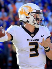 GAINESVILLE, FL - NOVEMBER 03:  Drew Lock #3 of the Missouri Tigers attempts a pass during the game against the Florida Gators at Ben Hill Griffin Stadium on November 3, 2018 in Gainesville, Florida.  (Photo by Sam Greenwood/Getty Images)