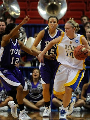Kristin Rotert of SDSU dribbles past TK LaFleur and Emily Carter of Texas Christian University in the first half of Sunday night's first round NCAA tournament game in 2009.