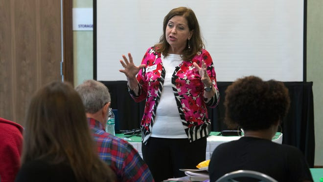 Sally Patterson, gives a lecture on the Military Child Education Coalition's Strength, Potential, Aspirations Resourcefulness and Confidence of military-connected children at the Holiday Inn on Pensacola Beach Thursday May 12, 2016.