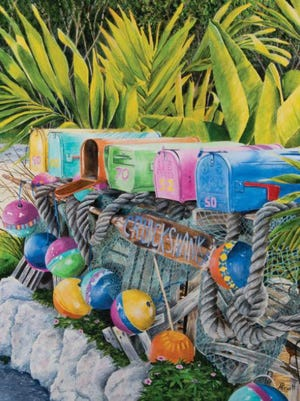 A coastal-themed painting by artist Alice Pruitt.