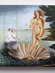 "A painter perched on a half shell contemplates ""Michelangelo's"