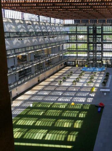 View of the astroturf in the atrium area from the fifth floor inside Bell Works, which is slowly becoming one of the hippest places to work in New Jersey, if not the country, in Holmdel, NJ Wednesday, June 22, 2017.