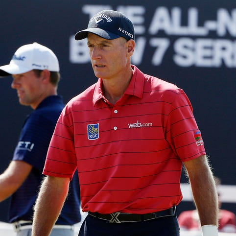 PGA golfer Jim Furyk practices on the putting green and later has to withdraw due to a wrist injury during the first round of the BMW Championship at Conway Farms Golf Club. Mandatory Credit: Brian Spurlock-USA TODAY Sports ORG XMIT: USATSI-189906 ORIG FILE ID:  20150917_pjc_ss1_153.JPG