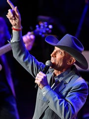 "Mel ""Sonny"" Tillis Jr. gives a shout out to his dad after performing ""Burning Memories"" at the public memorial service for his father at the Ryman