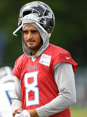 Titans quarterback Marcus Mariota has worn a light gray hoodie at most practices this training camp, like he did July 27.