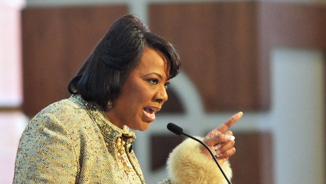 Bernice King, CEO of the King Center, gives the Call to Commemoration during the Martin Luther King Jr Commemorative Service at Ebenezer Baptist Church, Monday, Jan. 20, 2014, Atlanta.