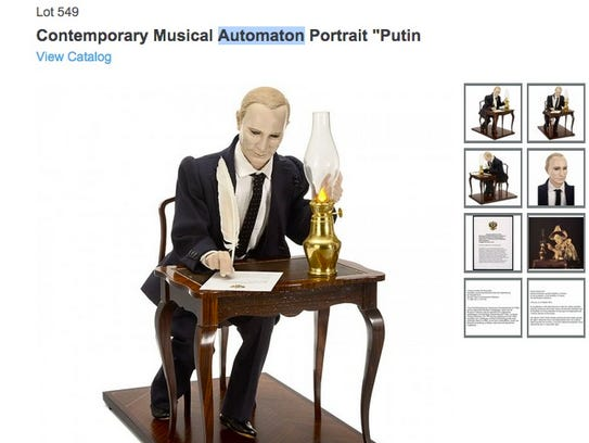 Putin mechanical figurine is up for auction in November.