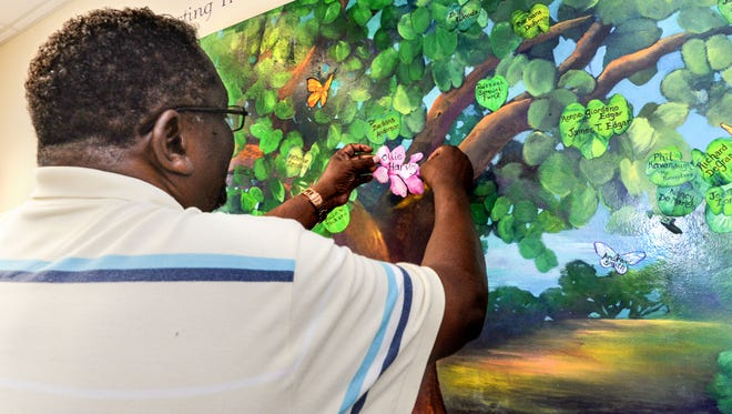 Phil Harvey places Ollie Harvey's flower on the Anne M. and Joel L. Pearl Tree of Love, a memorial painting displayed in the Mayes Center on Treasure Health's Stuart campus.