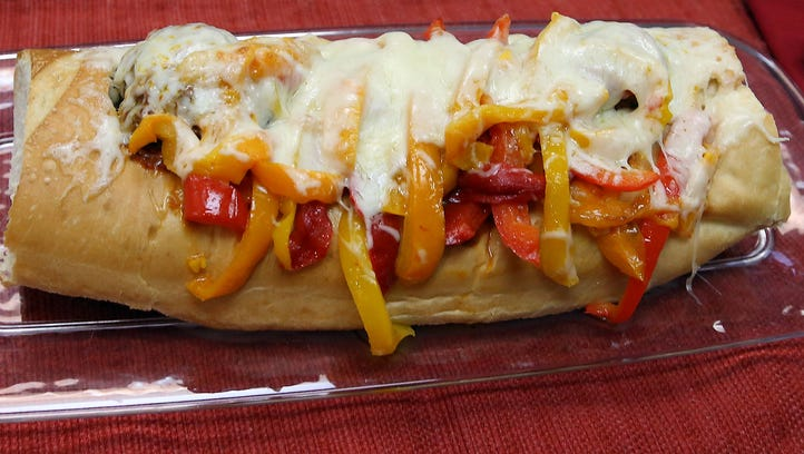 One of John Duefrane's giant meatball subs.