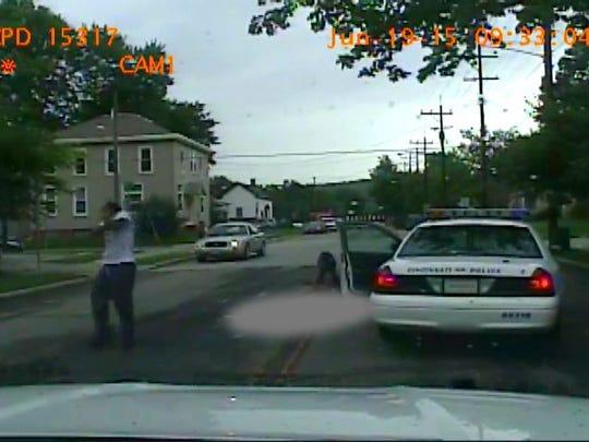 The video from Cincinnati Police Spc. Tom Sandmann's