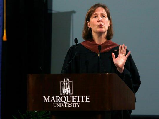 Novelist Ann Patchett is shown speaking at Marquette