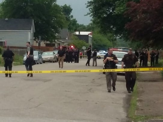 Evansville Police works the scene of an apparent domestic