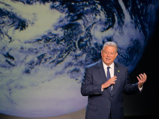 Al Gore giving his updated presentation in Houston in 'An Inconvenient Sequel: Truth to Power.'