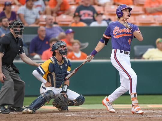 Clemson's Logan Davidson watches his two-run home run
