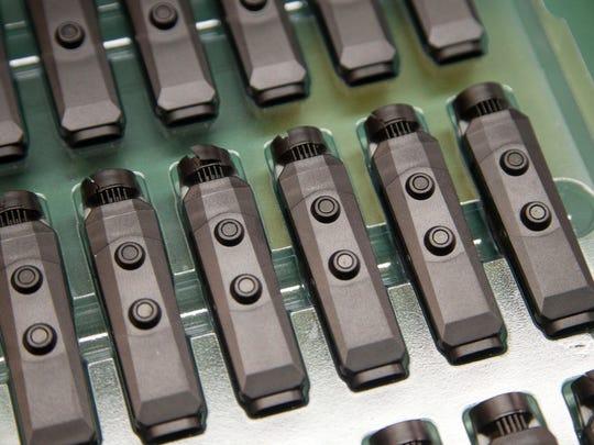 Axon Flex 2 body cameras are seen at Axon Enterprise/Taser
