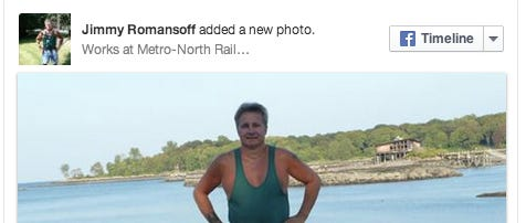 """James """"Jimmy"""" Romansoff, as seen in a photo posted on his Facebook profile on April 11, 2010. Romansoff, 58, a Metro-North worker, was hit by a train and killed while restoring power to a track in Manhattan that was supposed to be off limitsto traffic."""