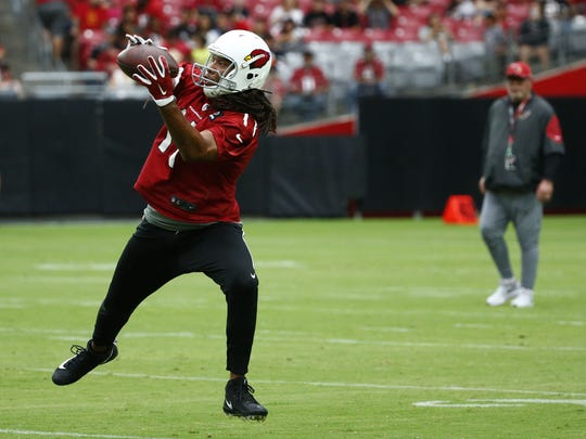Arizona Cardinals Larry Fitzgerald during the opening day of training camp on Jul. 22, 2017 in Glendale, AZ.
