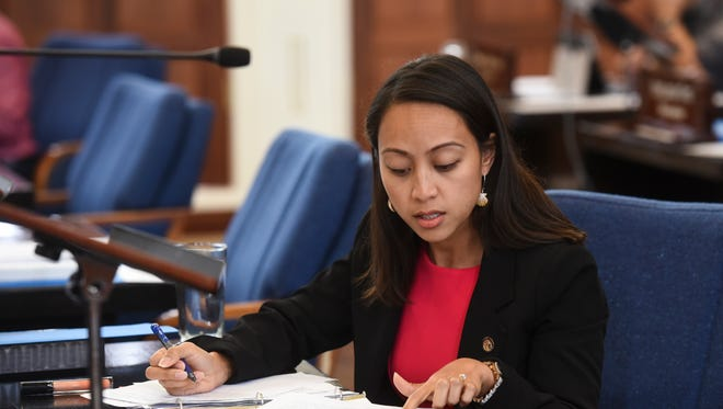Sen. R´gine Biscoe Lee is shown during session at the Guam Congress Building in this June 27, 2017 file photo.