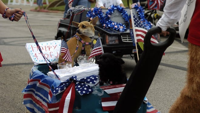 Pets enjoy the Kell House's Fourth of July parade in this file photograph. Pet columnist Katrena Mitchell writes to give special consideration to pets during this time of year, as many are not too keen on fireworks.