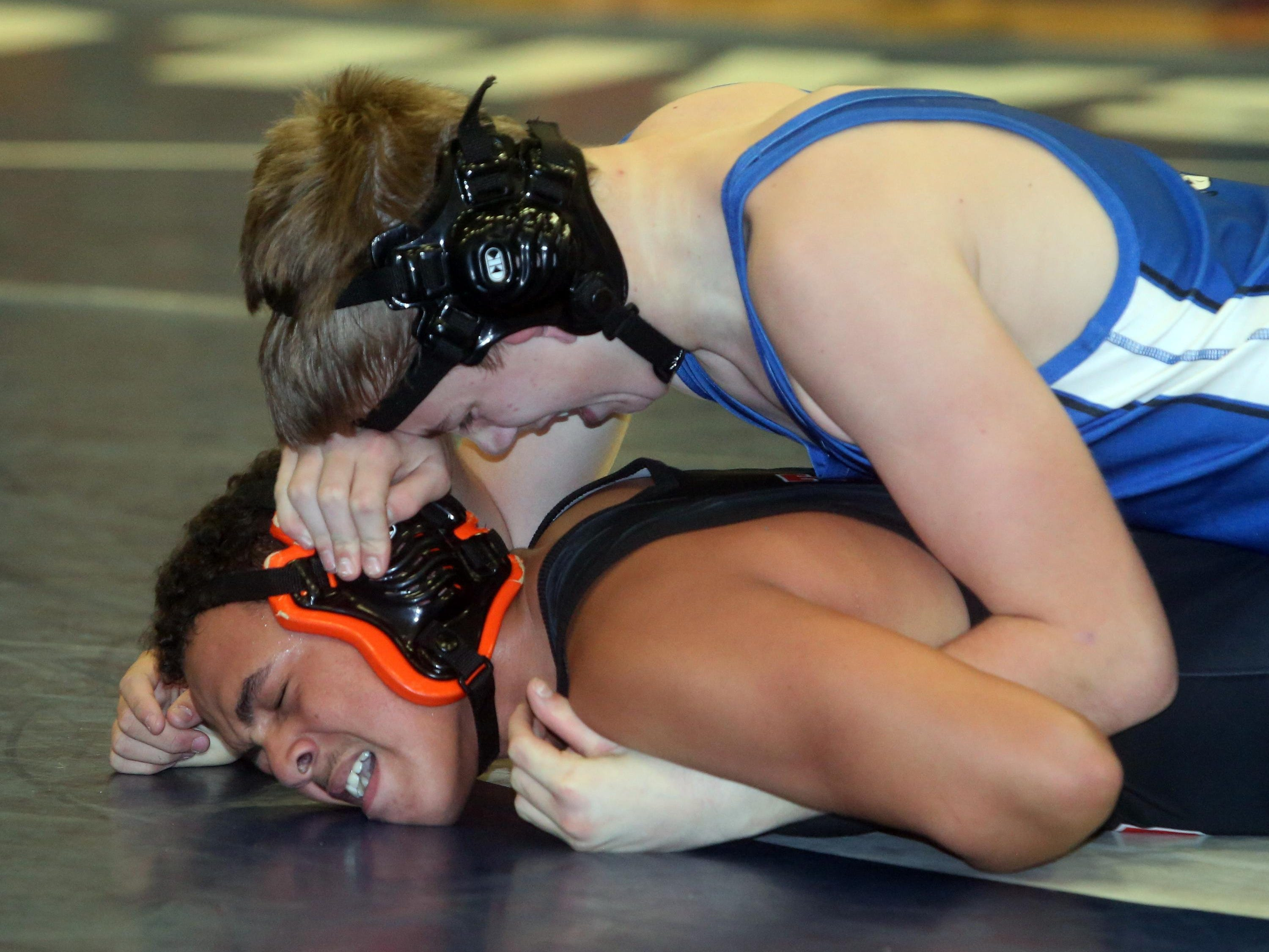 Pearl River's Dan Hogan pinned Croton's Izzy Rocker in a 170-pound match during a quad wrestling meet at Hendrick Hudson High School on Thursday. The Pirates advanced to the final of the D2 Section 1 Dual Meet Championships.