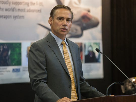 Kelly Ortberg, Rockwell Collins CEO, speaks at visiting Rockwell Collins during a presentation of the company's F-35 helmet and heads up display in Cedar Rapids, Iowa, Tuesday, Aug. 11, 2015.
