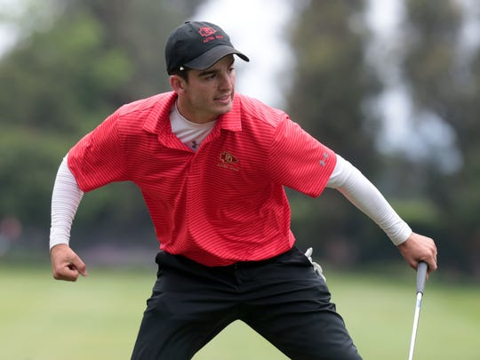 Palm Desert's Raymond Navis reacts to birdie on 18 during 2018 CIF State Boys High School Championship played at San Gabriel Country Club on Wednesday, May 30, 2018 in San Gabriel.