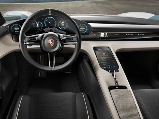 The Porsche Mission E Concept's dashboard and controls.