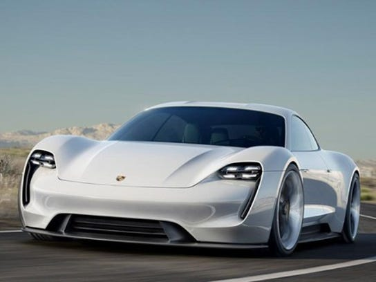 The Porsche Mission E Concept previews an electric sports sedan that Porsche will launch next year.