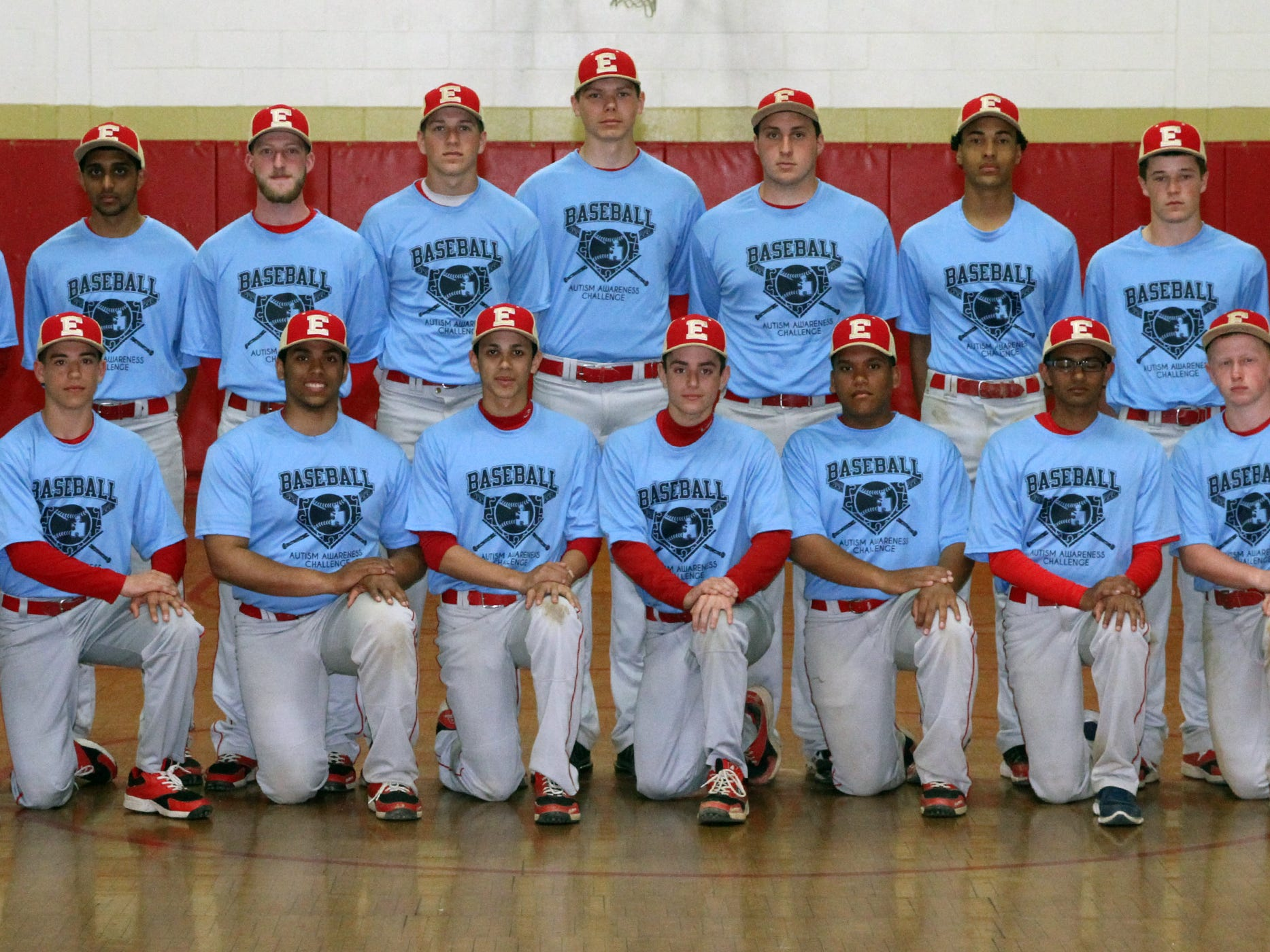 Edison High School baseball players wearing their T-shirts for the upcoming Autism Awareness Baseball Challenge.