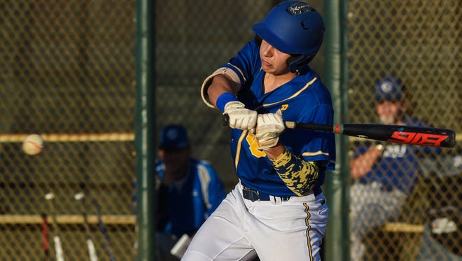 John Carroll Catholic's Mike LaRocca takes a swing at the ball Friday, Mar. 16, 2018, during his team's high school baseball game against Somerset Canyons at the Bob Gladwin Baseball Complex in Fort Pierce. To see more photos, go to TCPalm.com.