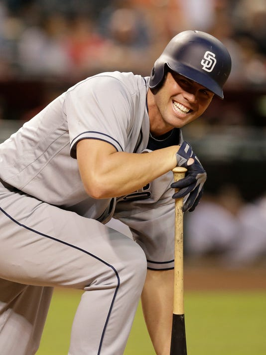 San Diego Padres' Clayton Richard reacts after missing a pitch and falling in the fifth inning during a baseball game against the Arizona Diamondbacks, Saturday, Oct. 1, 2016, in Phoenix. (AP Photo/Rick Scuteri)