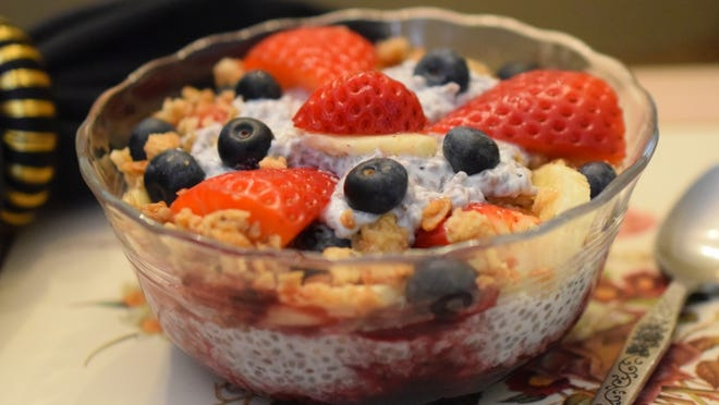 Chia pudding and fruit breakfast.