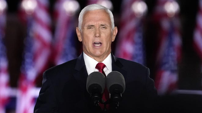 Vice President Mike Pence speaks on the third day of the Republican National Convention at Fort McHenry National Monument and Historic Shrine in Baltimore, Wednesday, Aug. 26, 2020.