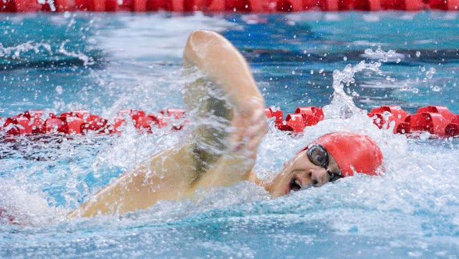 Waukesha South / Catholic Memorial freshman Caleb Blischke competes in the 500-yard freestyle at the Greater 8 Conference swimming and diving championships Saturday at Waukesha South High School.